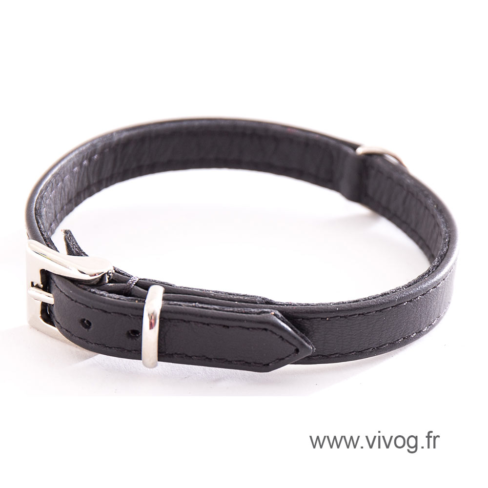 Black Leather Collar - special small dog collar united right