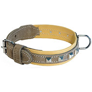 More informations about: Brown and beige leather dog collar - Montana