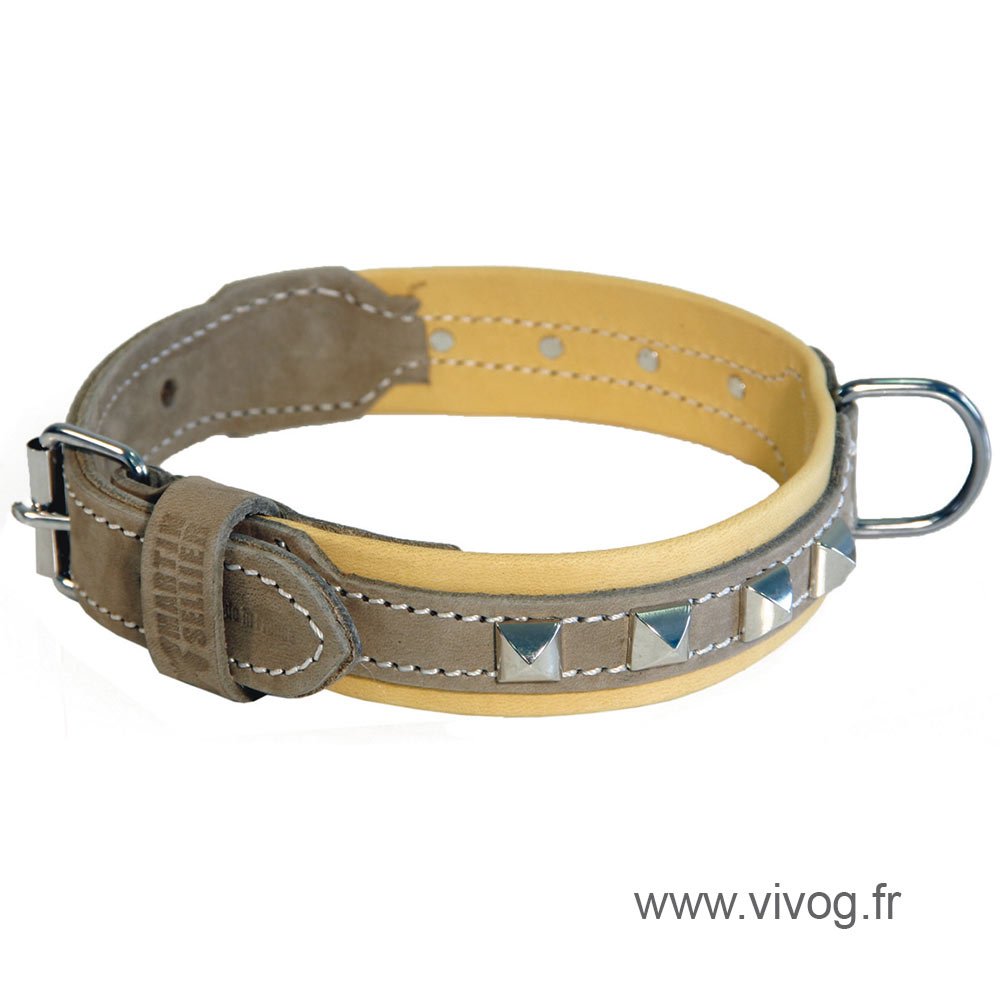 Brown and beige leather dog collar - Montana