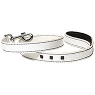 More informations about: Lead in black and white leather dog - Montana