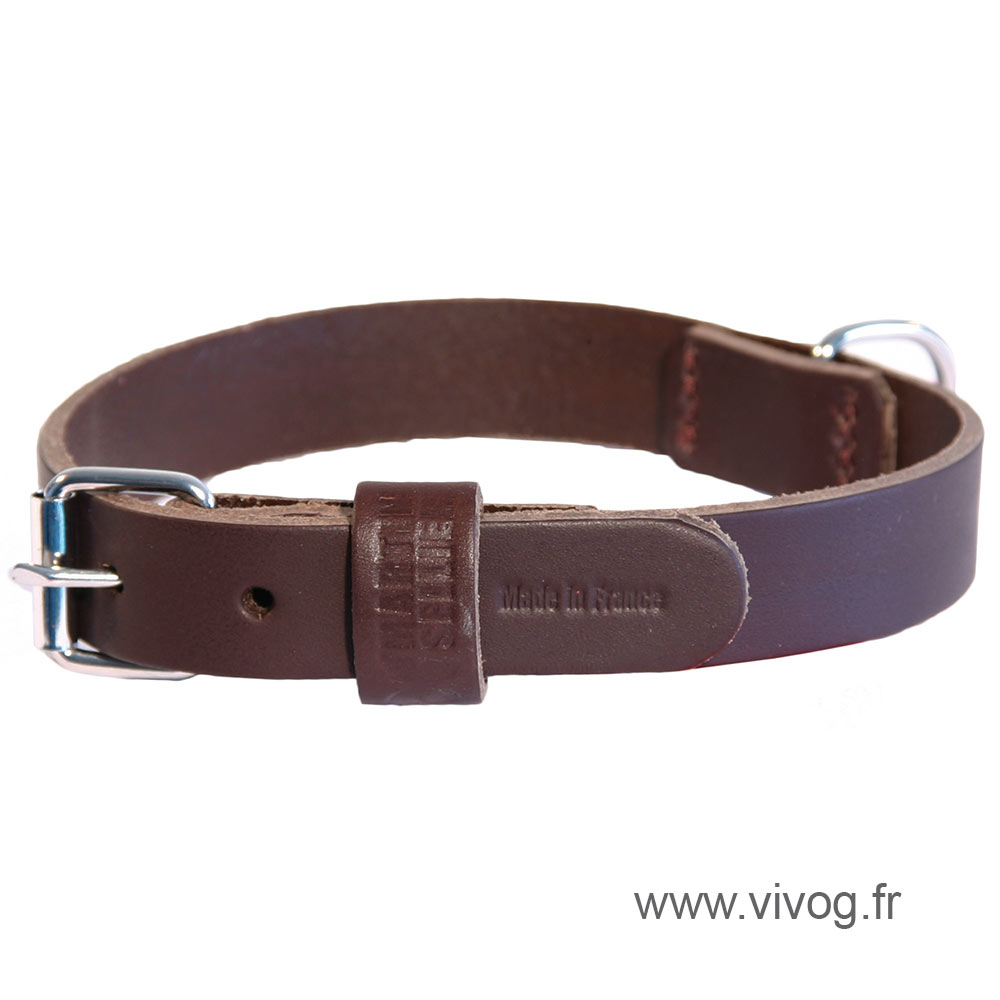 Brown leather dog Collar right - cut franc stung