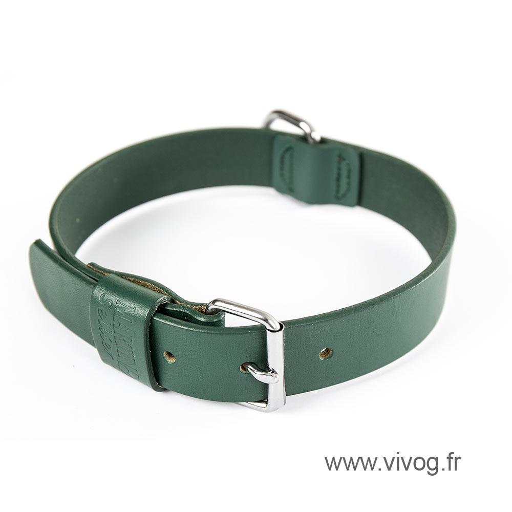 Green Leather Dog strait Collar - cut stung franc
