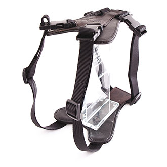 Black leather dog harness - Super comfort