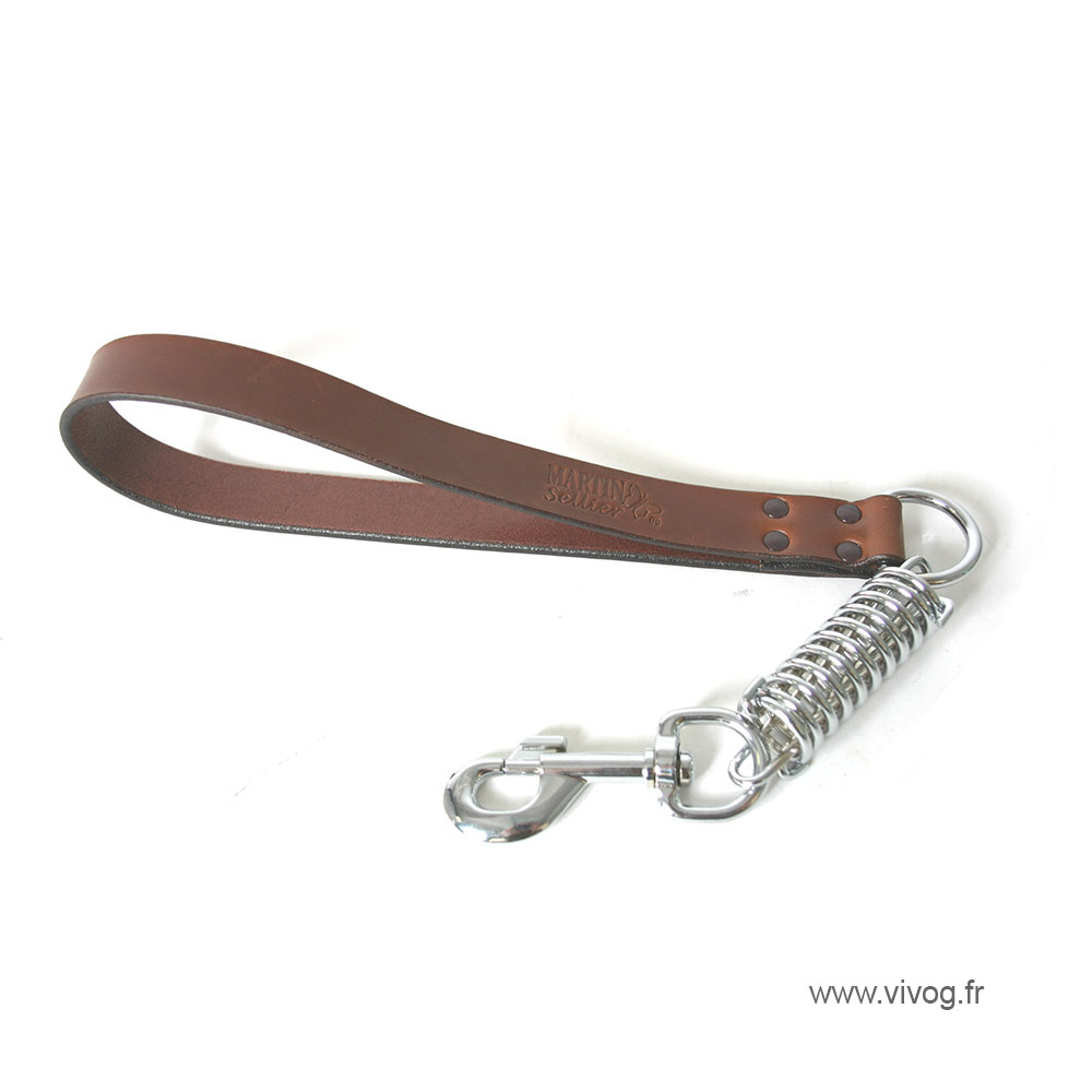 Lead absorber brown leather for dog - cut stung franc