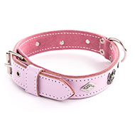 More informations about: Dog pink Leather Collar - Special bulldog
