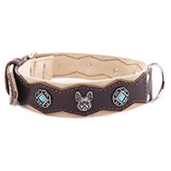 More informations about: Black Leather Collar - Special bulldog and stones
