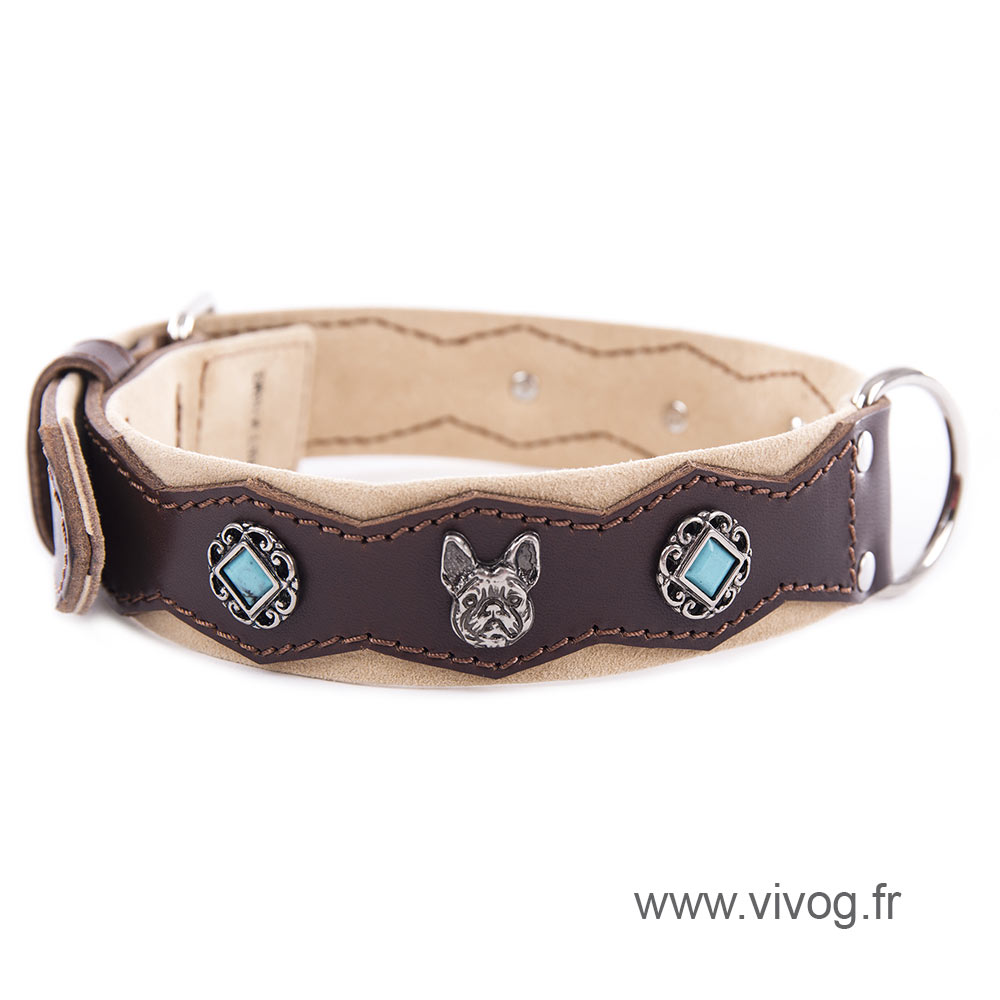Black Leather Collar - Special bulldog and stones