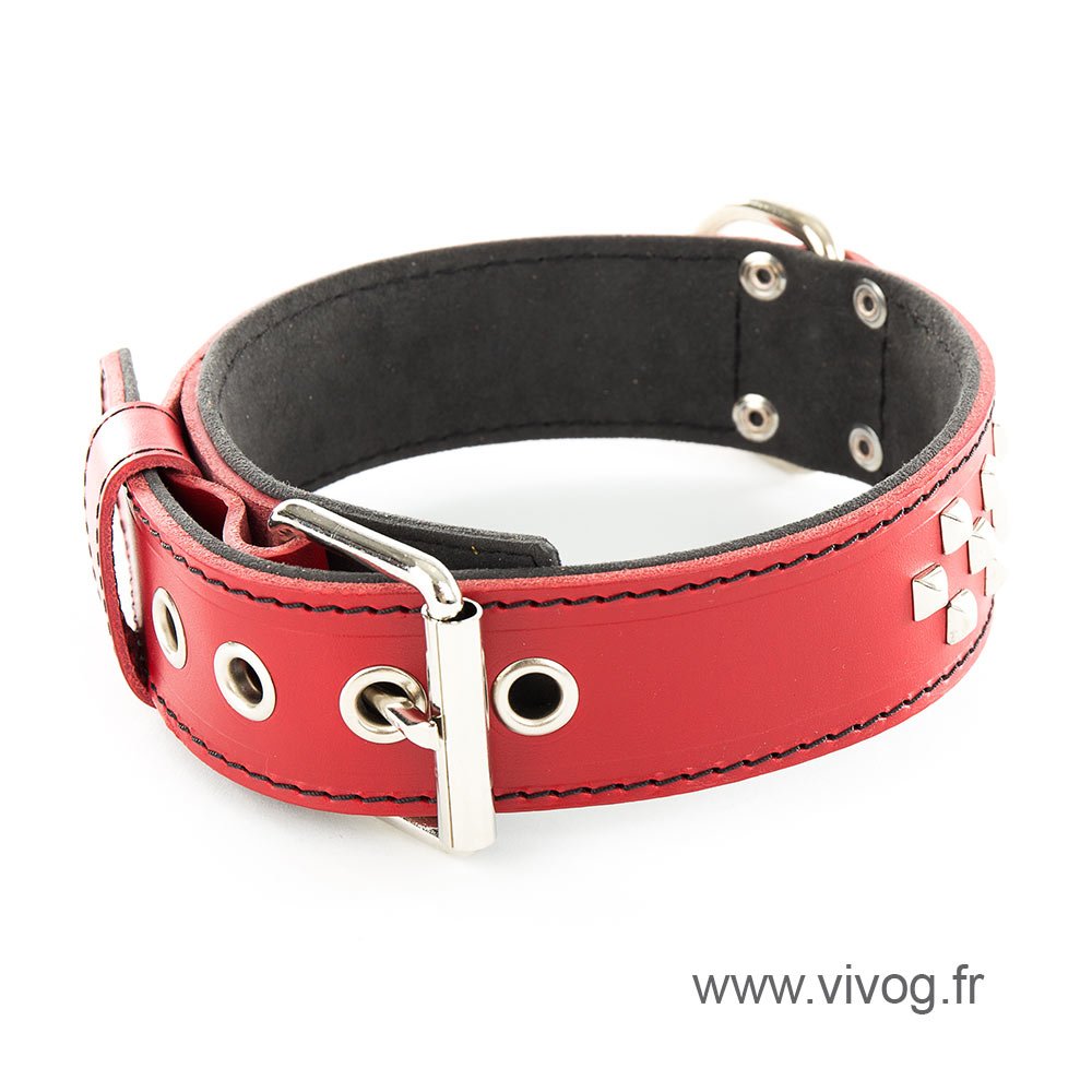 Red leather dog collar - Special mastiff