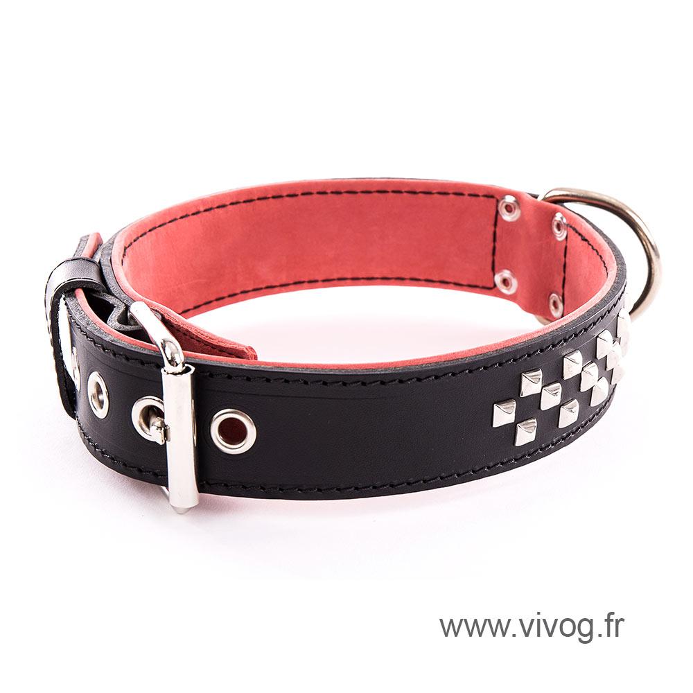 Black leather dog collar - Special mastiff