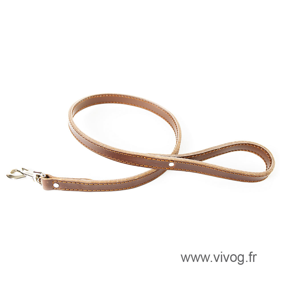 Brown leather lead for dog - Special bulldog and mastiff