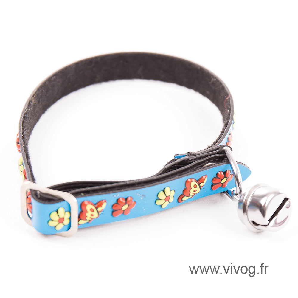 Collar for cat - 3D Relief - blue