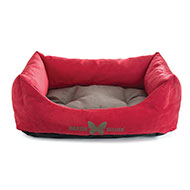 More informations about: Domino dog's basket - Red grey Suédine