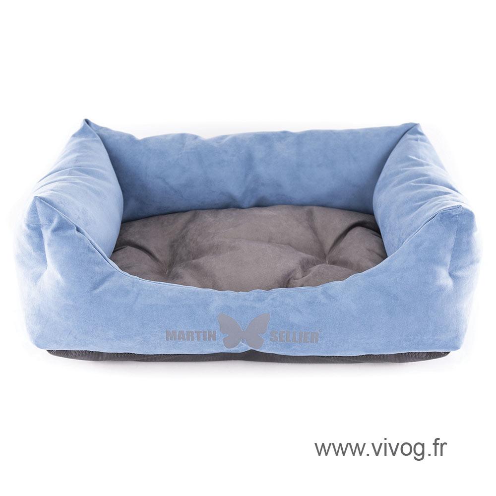 Domino dog's basket - Blue Suédine