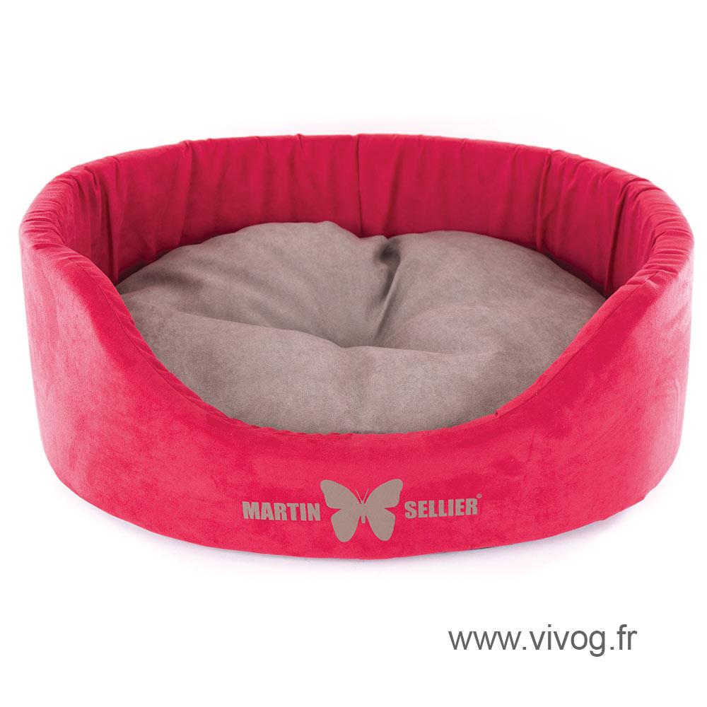 High dog basket - Suedine red grey