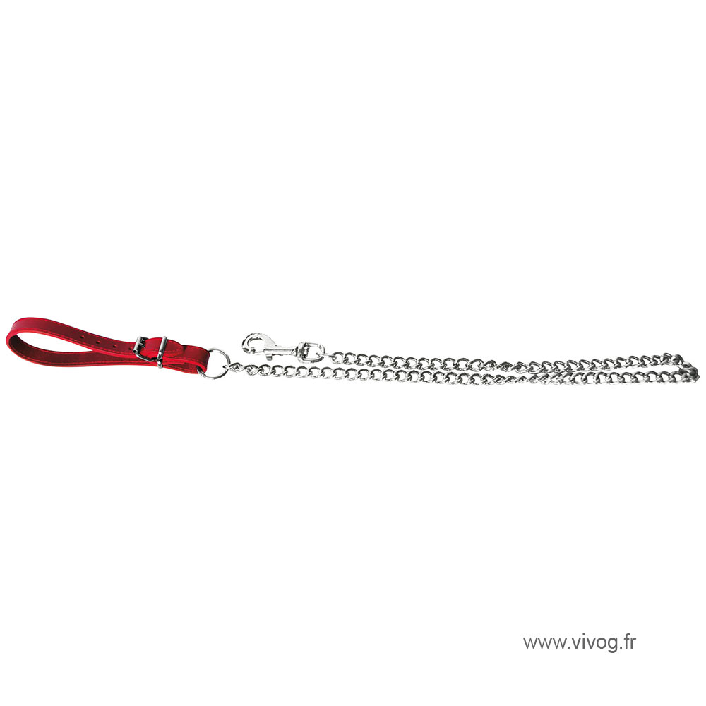 Dog chain lead with handle leather - red