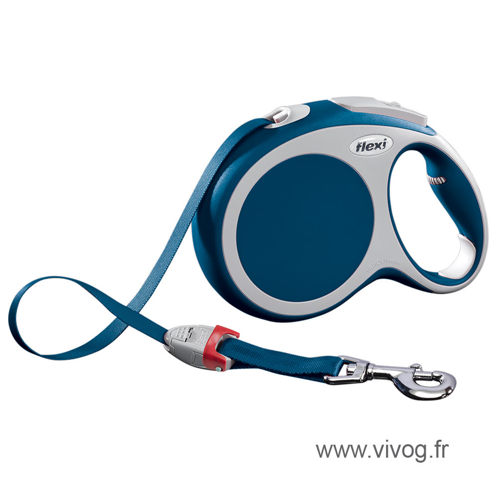 Laisse Flexi Vario sangle bleu