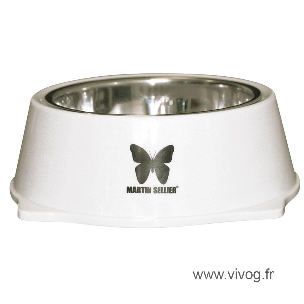 Gamelle pour chien - inox et mélaminées - blanc
