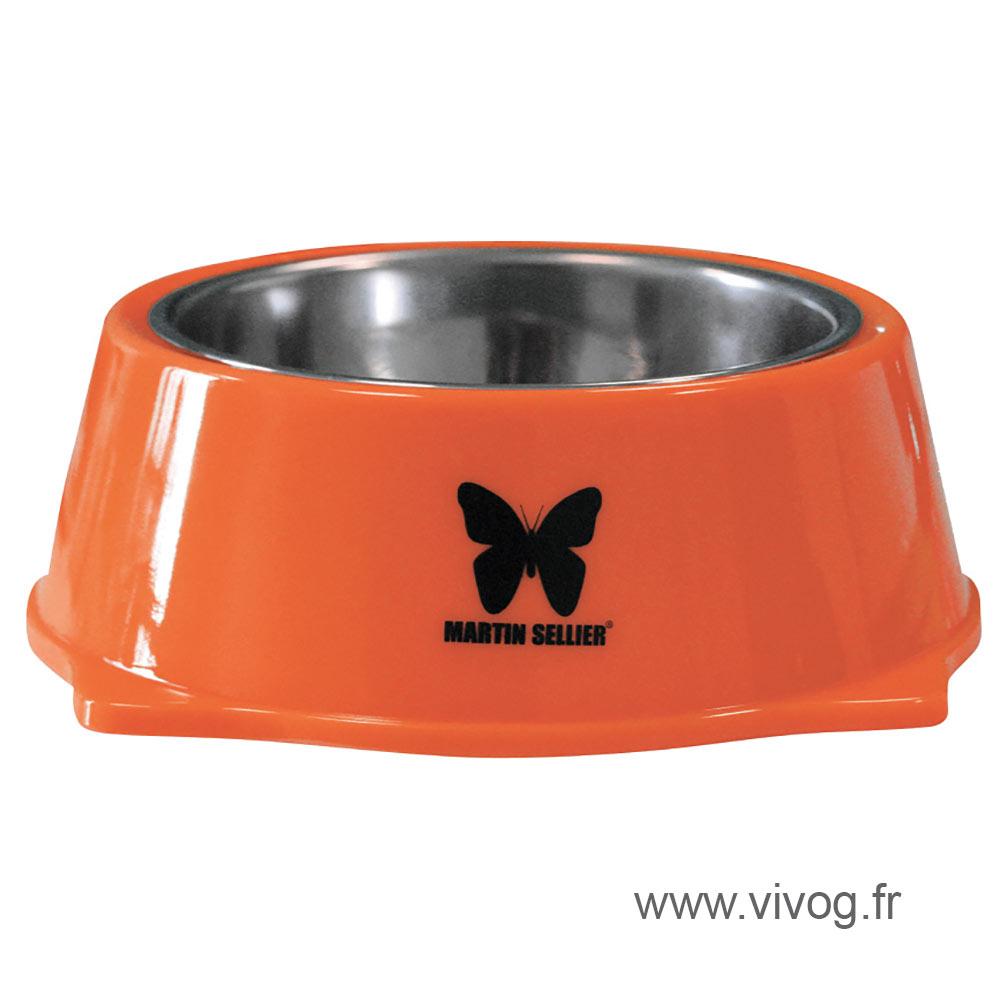 Gamelle pour chien - inox et mélaminées - orange