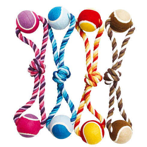 Dog Toy - Set of 4 ropes + 2 tennis balls - 40cm