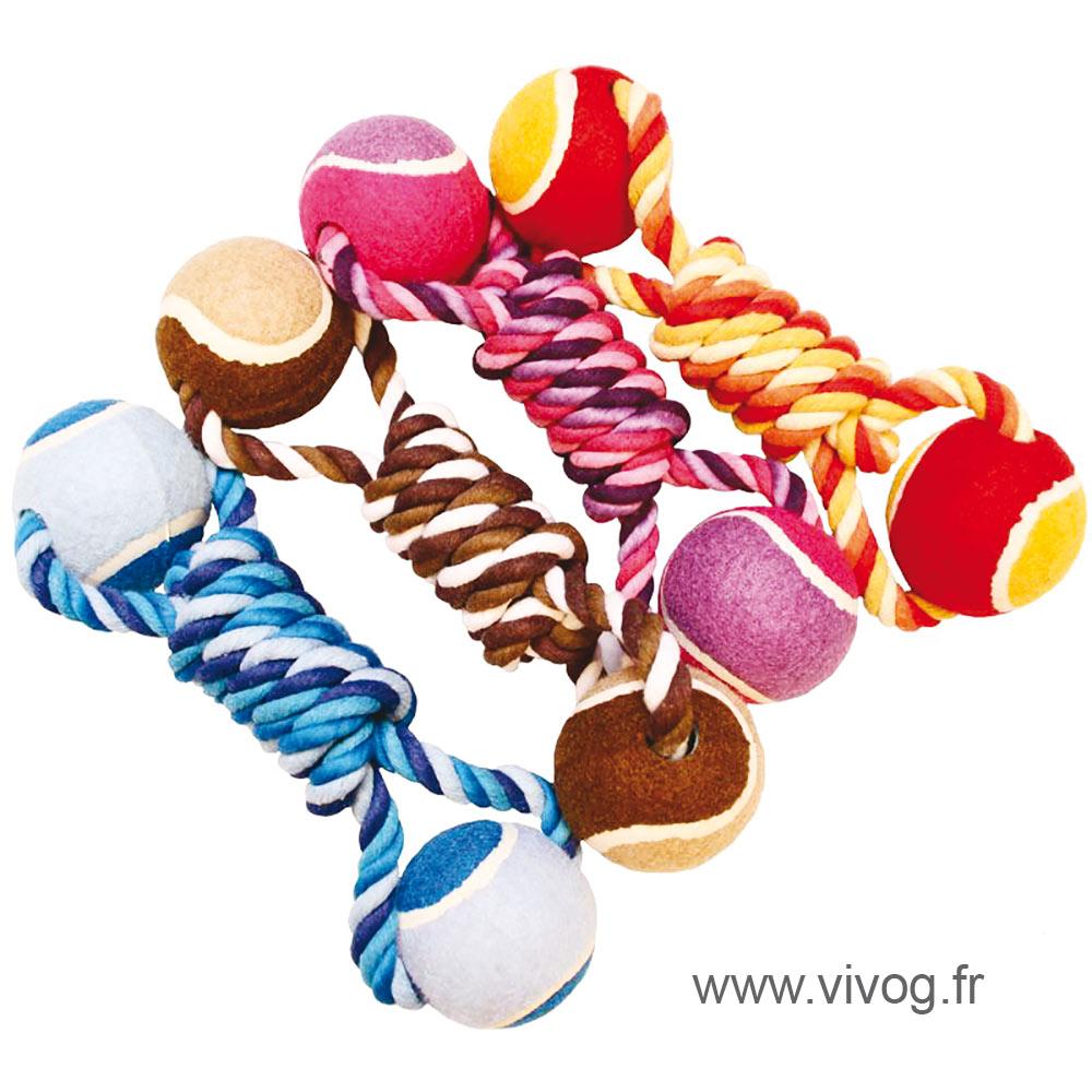 Jouet pour chien - Lot de 4 cordes + 2 balles de tennis - 25cm
