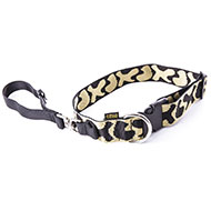 More informations about: Dog collar and handle 2in1 for large dog - Jacquard Black & White