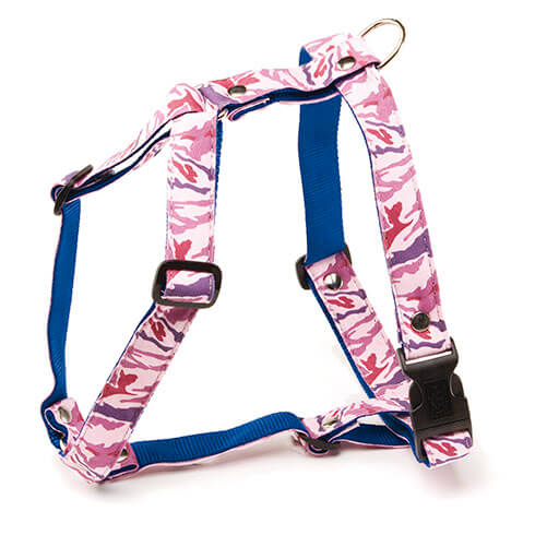 More informations about: Dog harness - Camouflage pink - S - W 10 mm Long 38cm to 25m