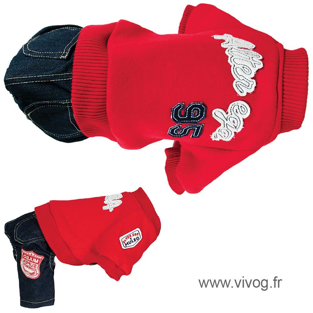 Pull + pantalon pour chien - Sweater US rouge
