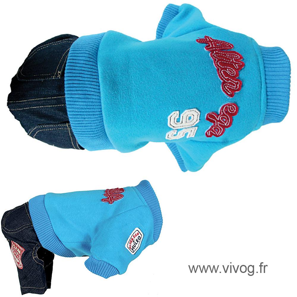 Pull + pantalon pour chien - Sweater US  bleu