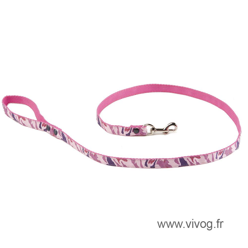 Laisse pour chien -  Camouflage rose