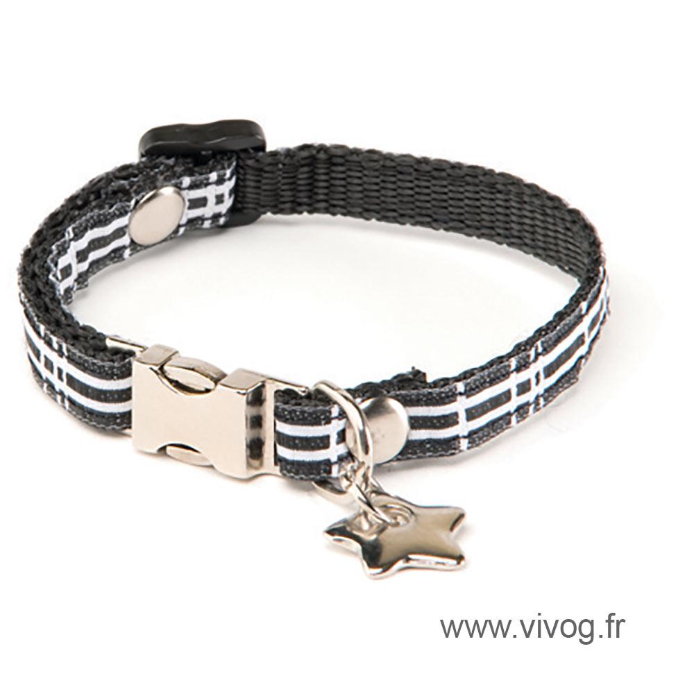 Collier pour chien - Noir & Blanc quadrillage