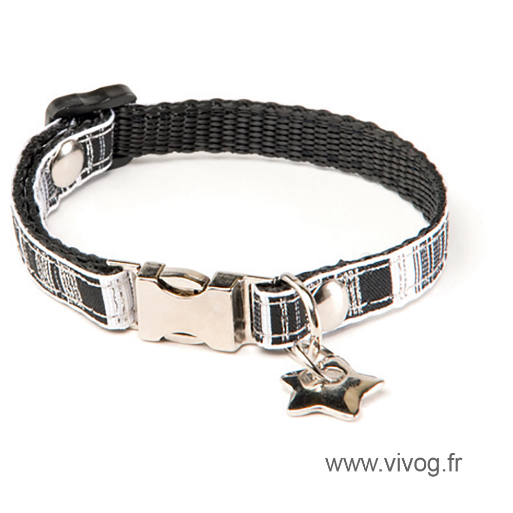 Collier pour chien - Noir & Blanc strass