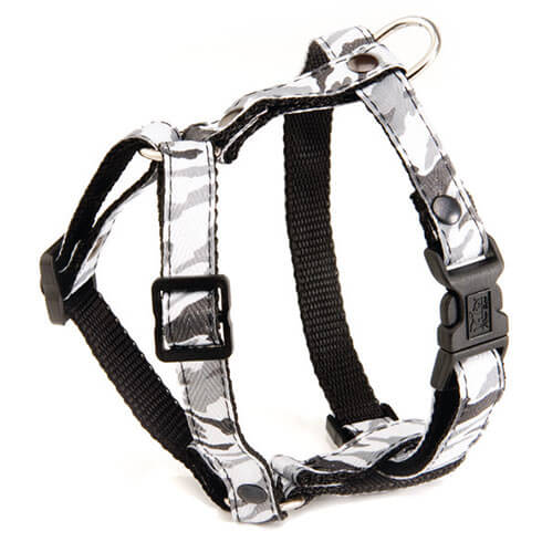 More informations about: Dog harness - Camouflage grey - S - W 10 mm Long 38cm to 25m
