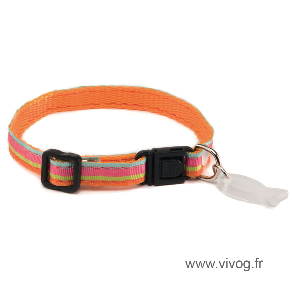 Collier réglable pour chat - Baïa - Orange