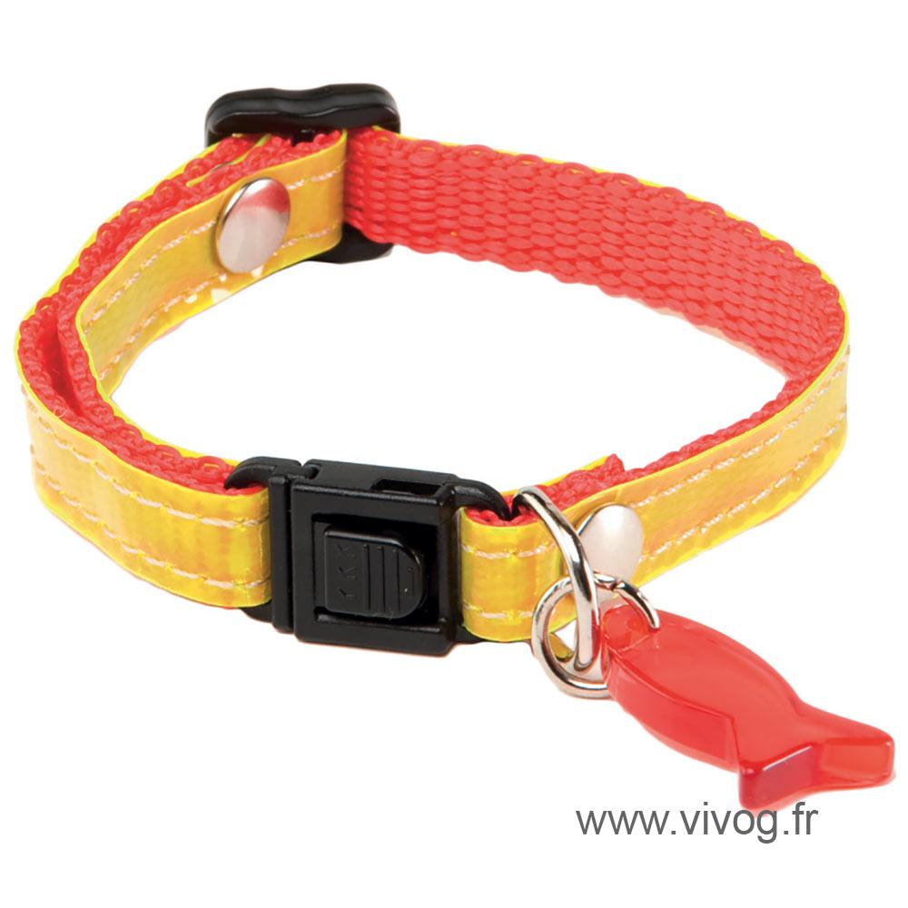 Collier réglable pour chat - Reflex - Rouge jaune