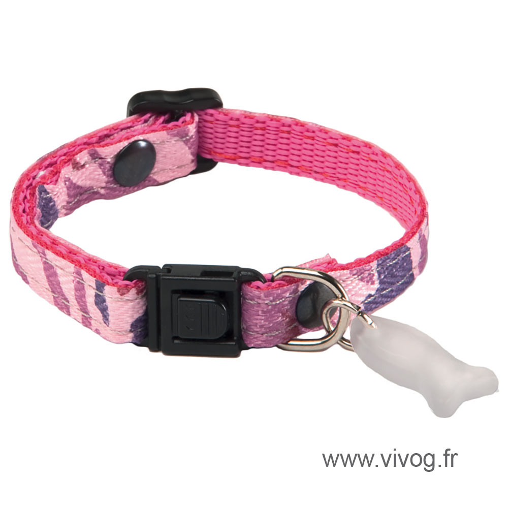 Adjustable Cat Collar - Camouflage - Pink