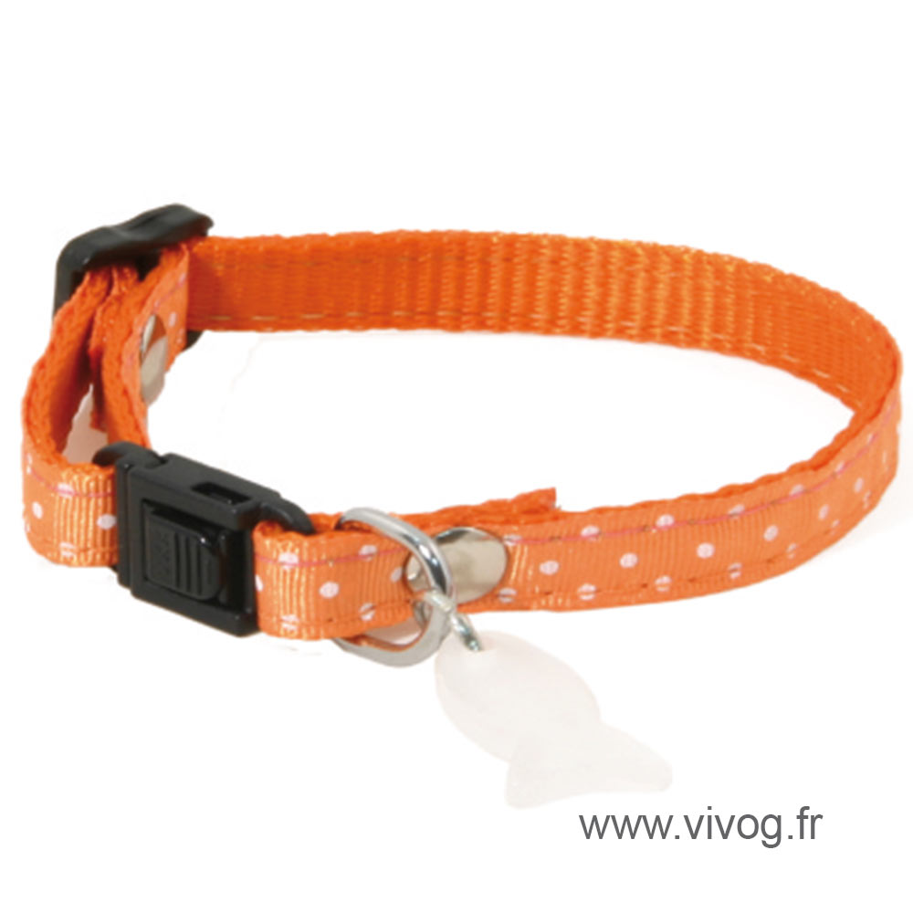 Adjustable Cat Collar - Pea - orange