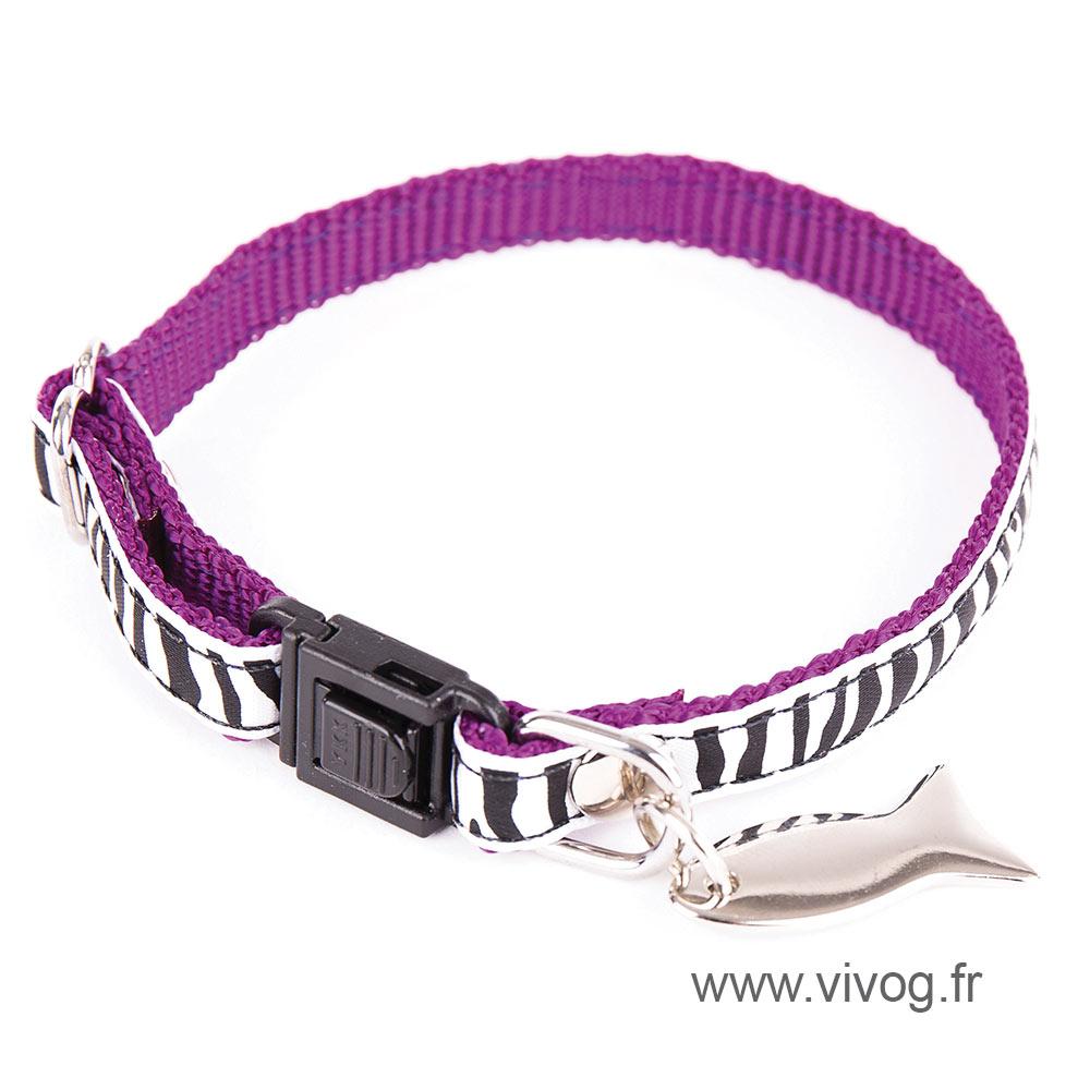 Collier réglable pour chat - Zèbre - violet