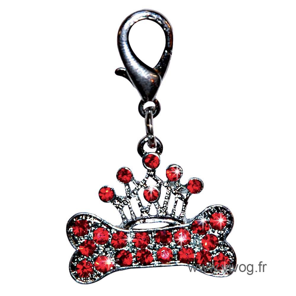 « Bone & crown» pendant set with red rhinestones 3.0cm