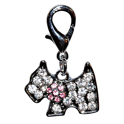 More informations about:  « Westie » pendant set with white and pink rhinestones 2,5cm