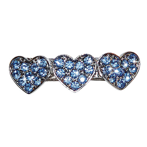 Barrette « heart » set with blue rhinestones 3,3cm
