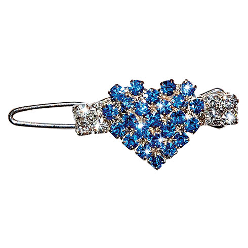Barrette « heart » set with blue and white rhinestones 2,6cm
