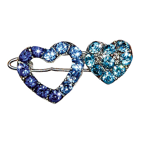 Barrette « heart » set with blue rhinestones 2,6cm