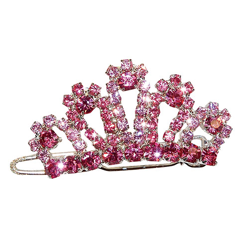 "Plus d'informations sur le produit : Barrette couronne strass rose ""Pink Lilly""  4cm"