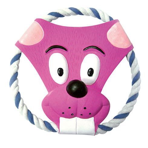 More informations about: Frisbee on a string, pink head - for dog