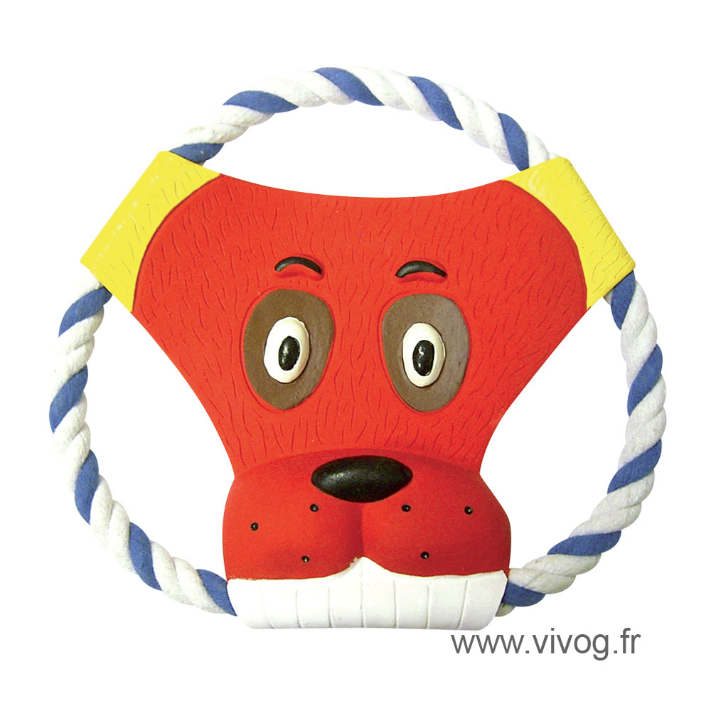 Frisbee on a string, red head - for dog