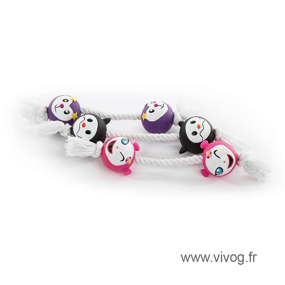 Lot de 3 jouets 2 balles + corde 17 cm
