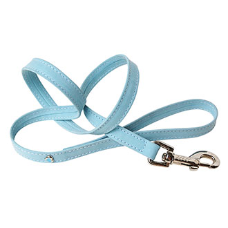 Blue suede leather lead