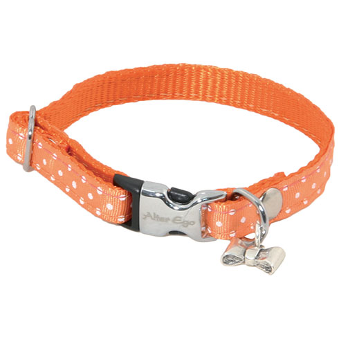 Plus d'informations sur le produit : Collier nylon pois orange - 1 x 17 à 27 cm