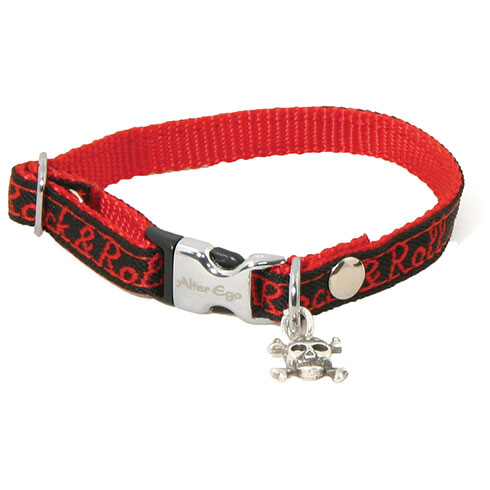 Plus d'informations sur le produit : Collier nylon Rock'N'Roll rouge - 1 x 10 à 27 cm