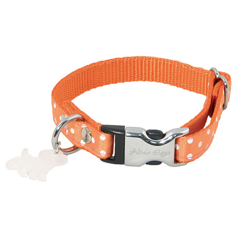 Plus d'informations sur le produit : Collier nylon pois orange - 1,5 x 23 à 33 cm